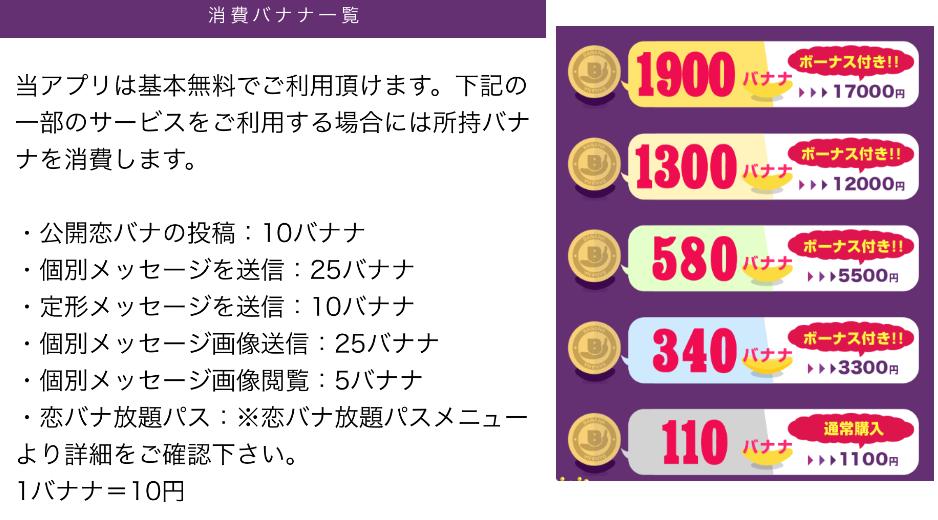 大人の出会いチャットアプリ‐ナイショの恋バナナ料金